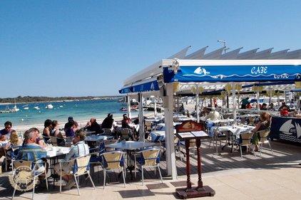 Colonia Sant Jordi, strandrestaurang, Port Blau, Medelhavsmat, Internationell mat